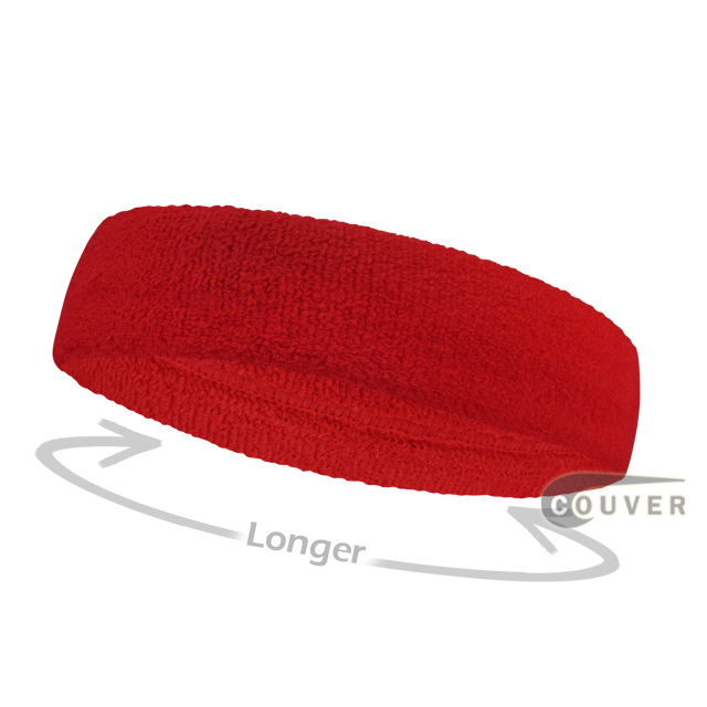 Red long terry headbands for sports [3pieces]