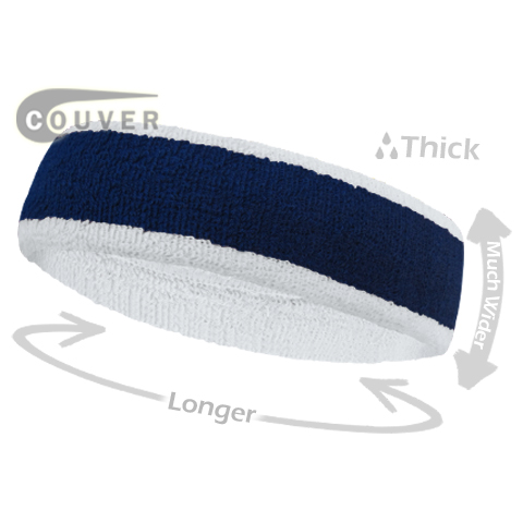 Navy with White Large Basketball Head Sweatband 3PIECES