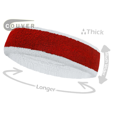 Red with White Large Basketball Head Sweatband 3PIECES