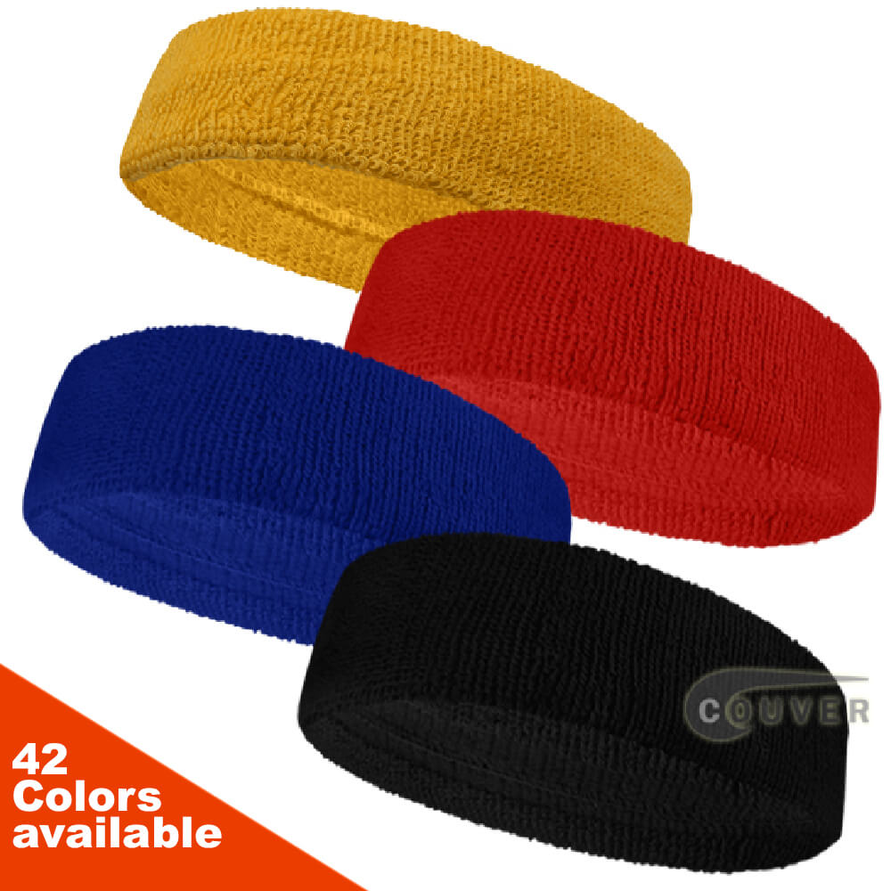 HB205 COUVER Quality Head Sweatband (Headband) 12pcs Mixed in Color