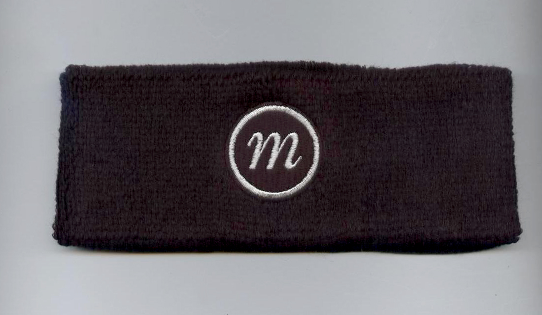 Custom Black Headband with White Logo Embroidery Sample