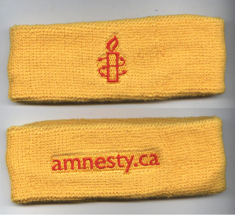 Custom Yellow Headband with Red Logo and Words Embroidery Sample