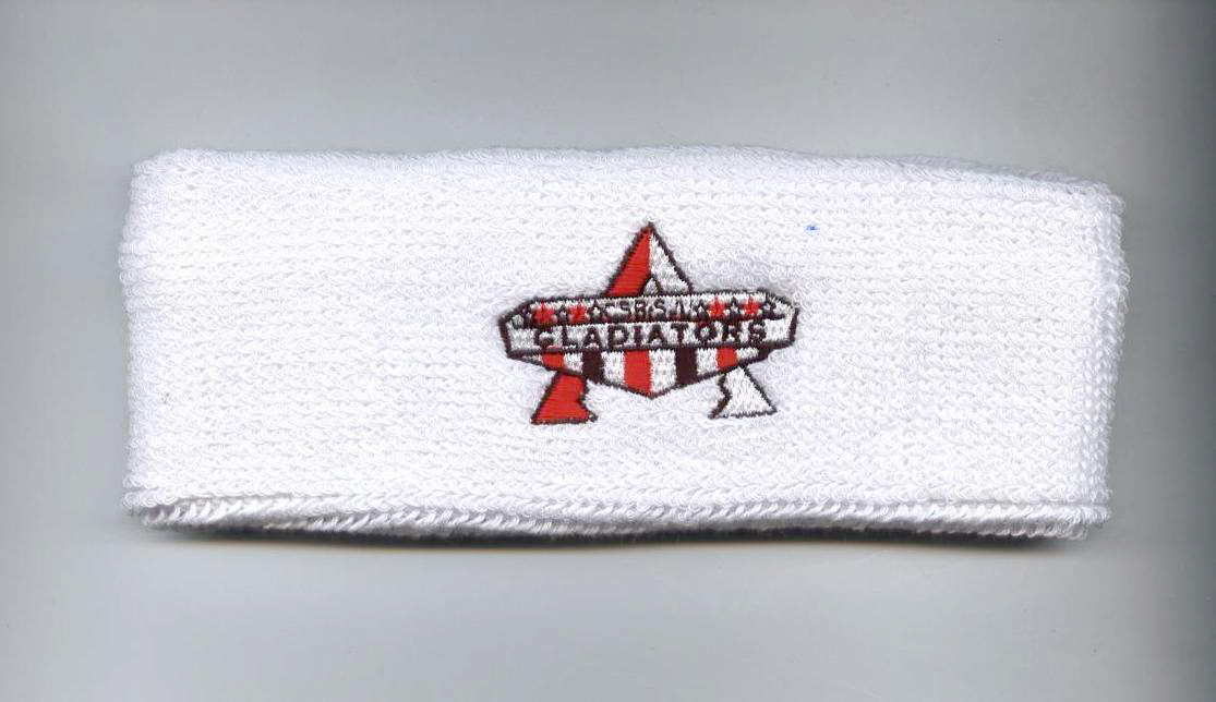 Custom White Sweat Headband with Multiple Color Logo Embroidery