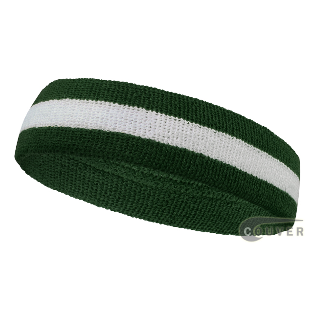 Wholesale dark green white 2color sports sweat headbands terry clo