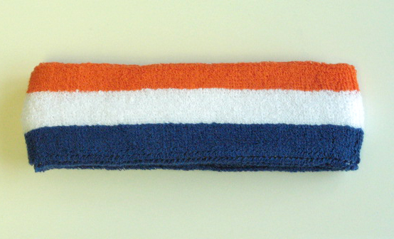 Blue White Dark Orange Stripe Head Sweatband Wholesale 12PIECES
