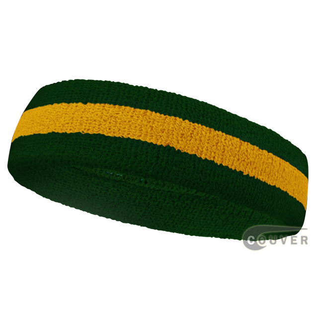 Dark Green Golden Yellow Dark Green sports headbands (head sweatband)