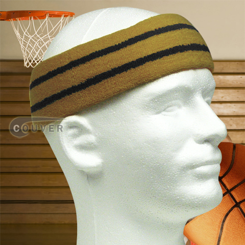 Large Basketball Sweat Headband Pro Black Stripes in Gold 3PCs