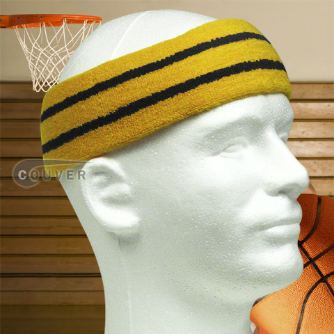 Basketball Sweat Headband Pro Black Stripe in Gold Yellow 3PCs