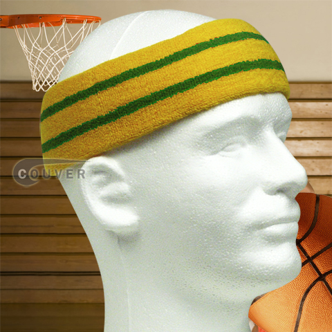Basketball Sweat Headband Pro Green Stripe in Gold Yellow 3PCs