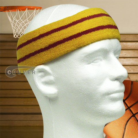 Basketball Sweat Headband Pro Red Stripe in Gold Yellow 3PCs