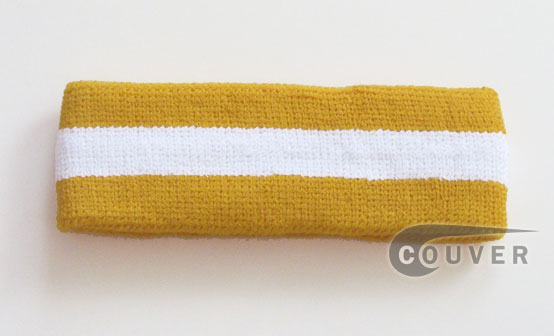 Golden Yellow White Golden Yellow striped head sweatband HB85-WHT_GLDYLW