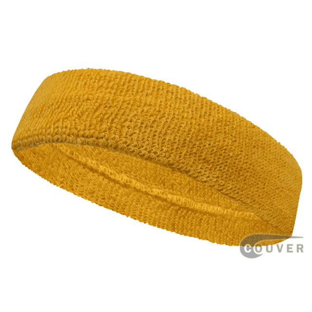Golden Yellow Head Sweatband (Sweat Headbands) Wholesale 12PIECE