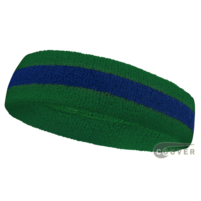 Green Blue Green Stripe Athletic Headbands for Sweats [12pieces]