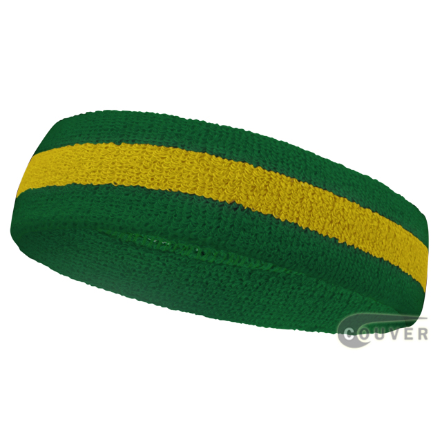 Green Yellow Green Stripe Sport Head bands Wholesale [12piece]