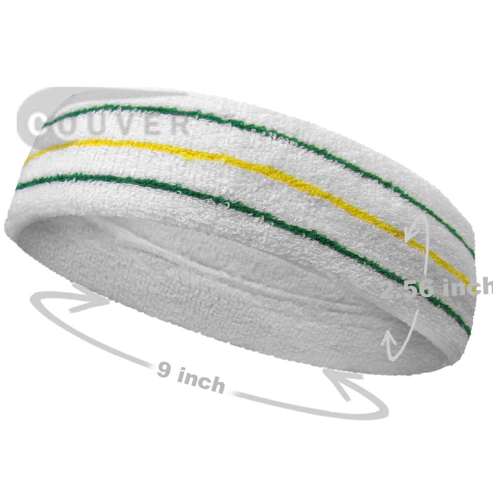 Green Yellow Green on White Large Tennis Head Sweatbands 3PC