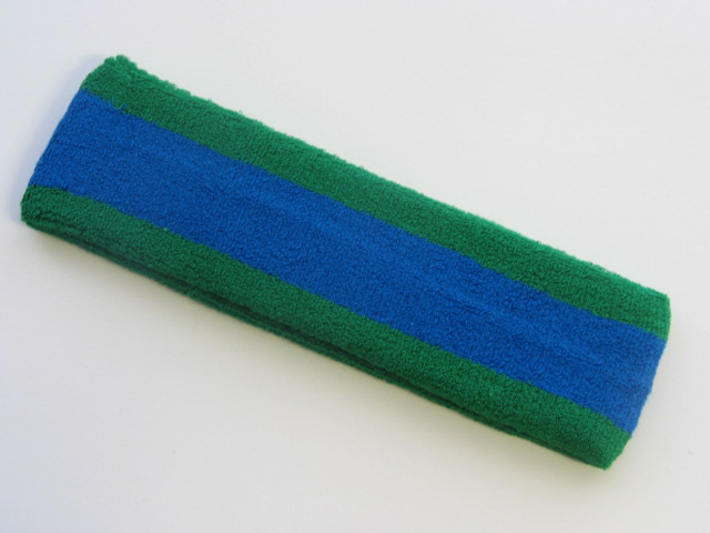 Blue with Green Trim Large Basketball Head Sweatband