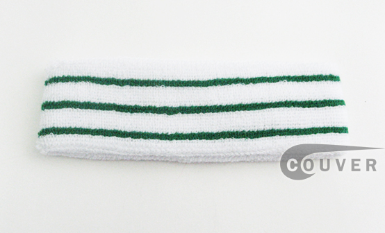 Green line Stripes White Tennis style Head Sweatbands COUVER 12PCs