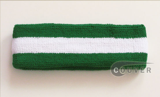 Green White Green striped head sweatband HB85-WHT_GRN