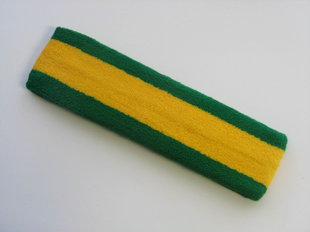 Yellow with Green trim Large Basketball Head Sweatband