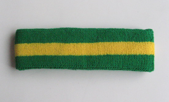 Green Yellow Green striped head sweatband HB85-WHT_BLE
