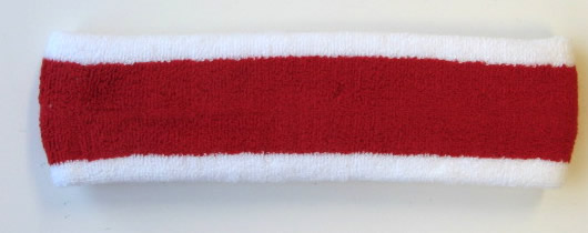 Red with White trim Large Basketball Head Sweatband