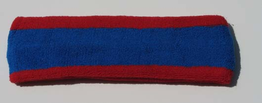 Blue with Red Trim Large Basketball Head Sweatband