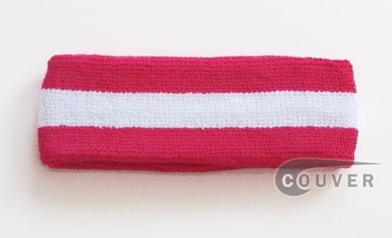 Hot Pink White Hot Pink striped head sweatband HB85-WHT_HOTPNK