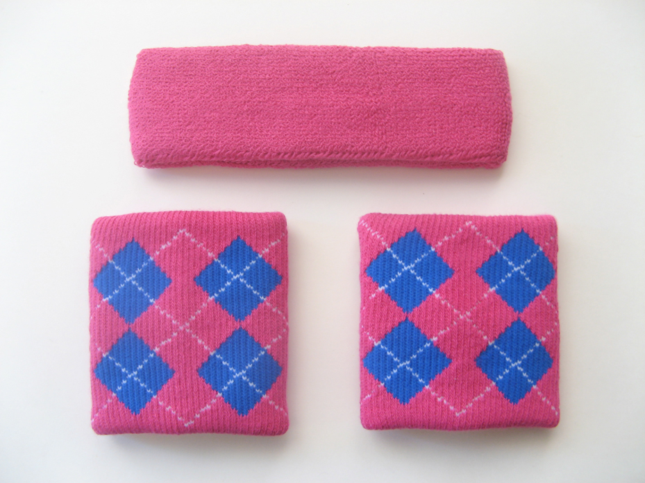 Hot Pink Headband Regular Hot-Pink x Blue Argyle Wrist Bands Set