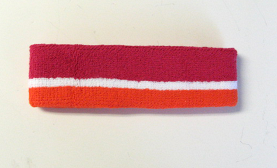 Hotpink White Dark Orange Stripe Headbands Wholesale [12pieces]