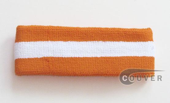 Light Orange White Light Orange striped head sweatband HB85-WHT_LGTORG