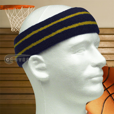 Large Basketball Headband Pro Gold Stripe in Navy Blue 3PCs
