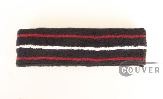3 line Navy Tennis Sweatbands for Head Red White Red [12pieces]
