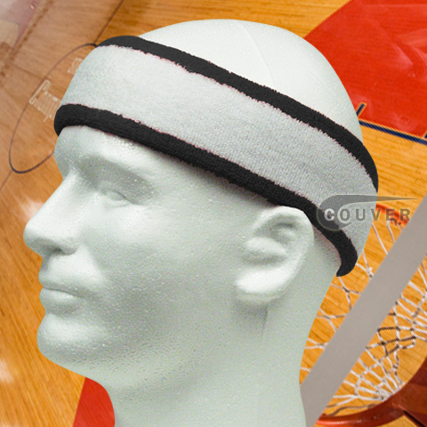 White with Navy Large Basketball Head Sweatband 3PIECES