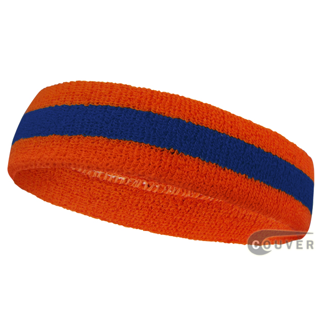 Wholesale orange blue 2color sports sweat headbands terry cloth