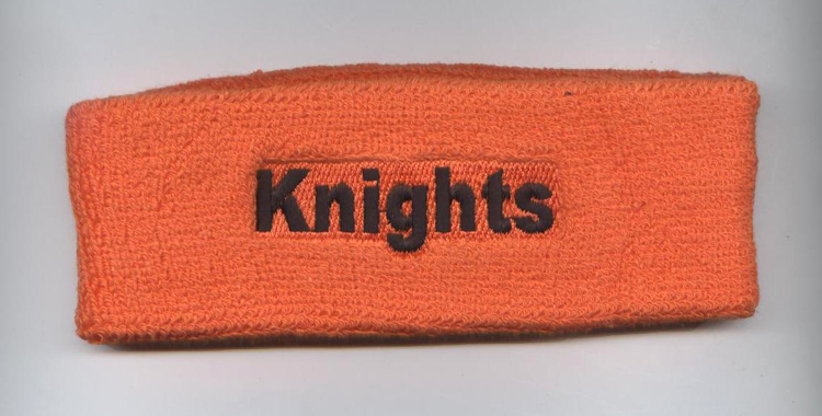 Orange Custom Headband with Black Words Embroidery