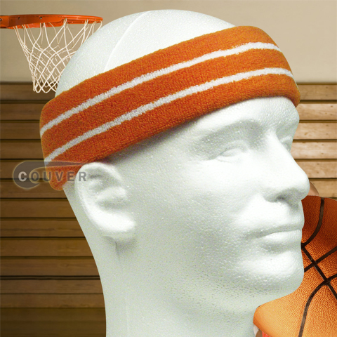 Basketball Sweat Headband Pro White Stripes in Orange 3PCs