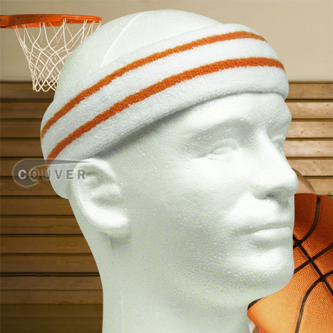 Large Basketball Headband Pro Orange Stripes in White 3PCs