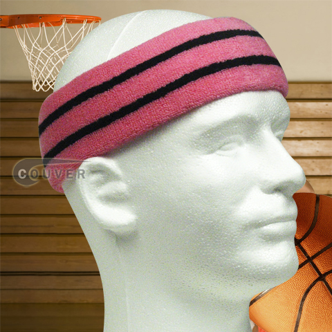 Basketball Sweat Headband Pro Black Stripe in Pink 3PCs
