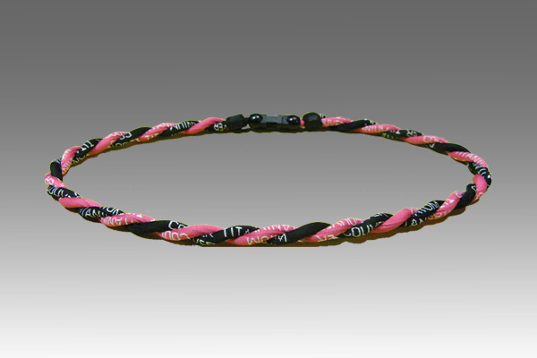 Dark Pink Black Titanium Germanium Double Power Necklace