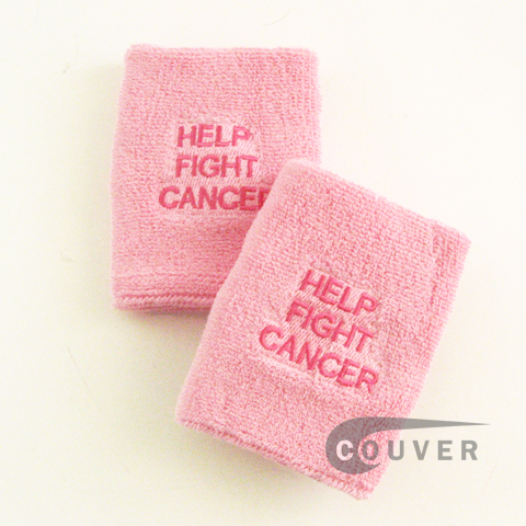 "HELP FIGHT CANCER Light Pink 4"" Wrist Sweatbands Wholesale 6Pairs"