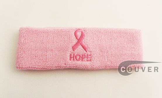 Couver's Ribbon Logo & HOPE Text Light Pink Headband Sweatbands Wholesale