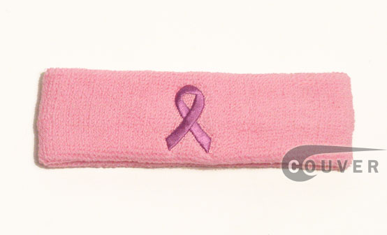 Pink ribbon logo Head Sweatbands Wholesale