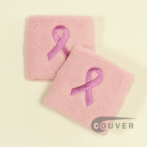 Ribbon Logo Light Pink Cancer Awareness Sweat Wristbands 6PAIRS