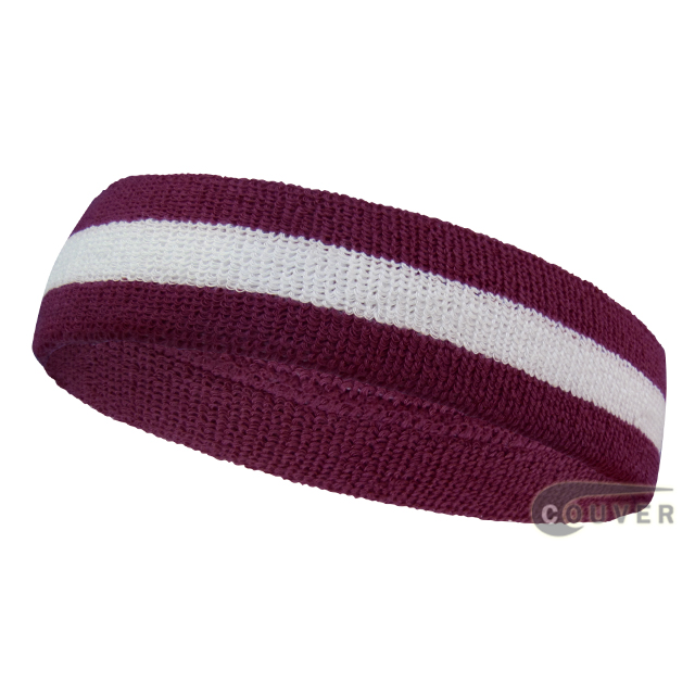Wholesale purple white 2color sports sweat headbands terry cloth
