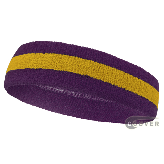 Purple golden yellow purple sports headbands (head sweatband)