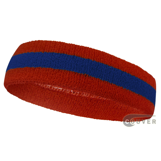 Red Blue Red Striped Sweat Head band for Sports [12pieces]