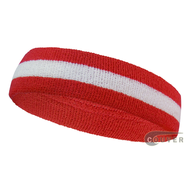 Red white red wholesale headband sweat 2color stripe