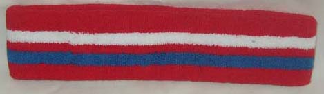 Large Basketball Red White Blue Stripe Headband Thick [1piece]