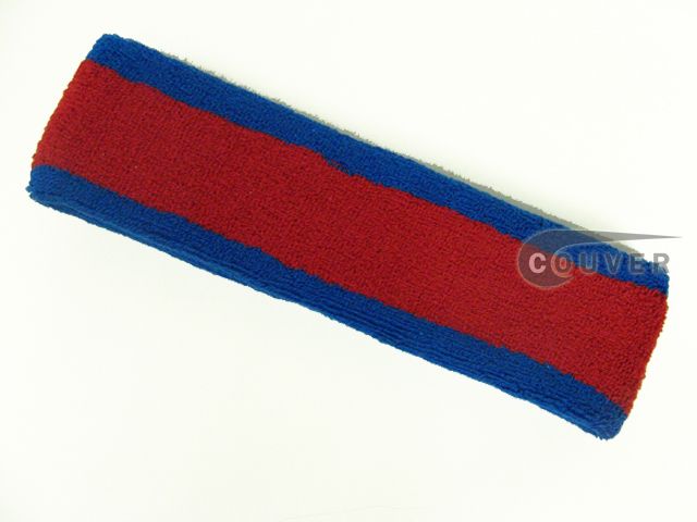 Red with Blue Large & Thick Basketball Head Sweatband Pro