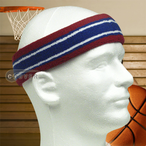 Basketball Headband Pro Multicolored Dark Red Blue White 3pieces
